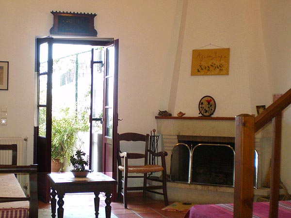 Traditional Cretan sofa. Four beds guest house