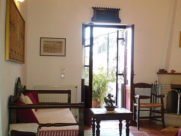 Stairs to the mezzanine. Traditional houses. Petrokefalo Crete